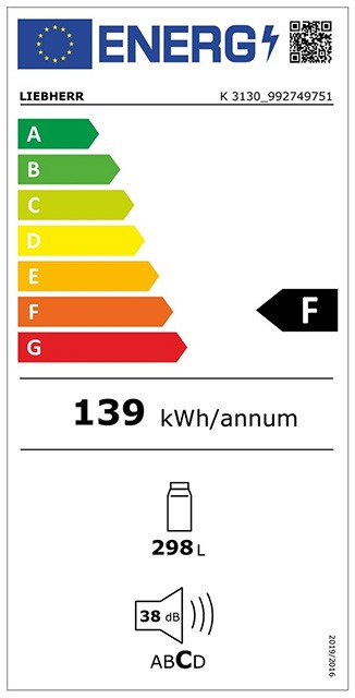 Etiqueta de Eficiencia Energética - K3130