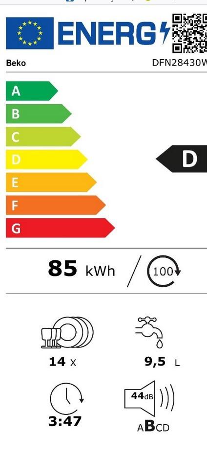 Etiqueta de Eficiencia Energética - DFN28430W