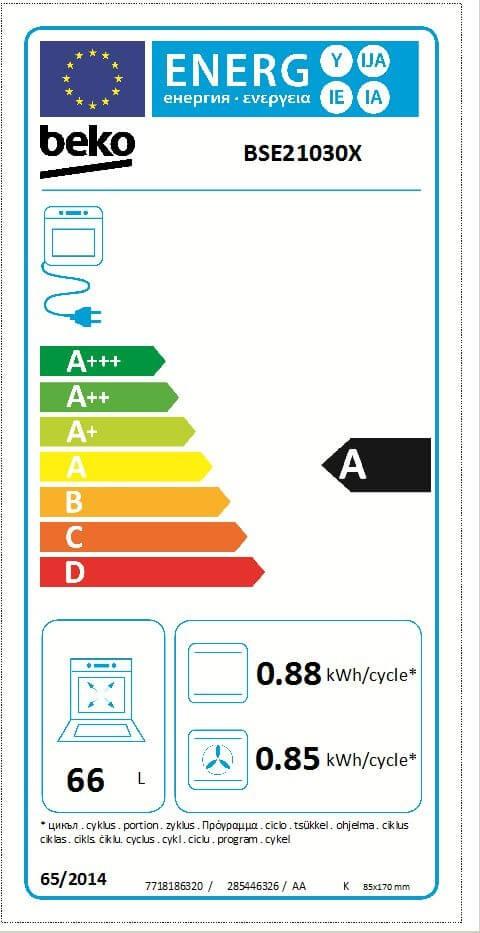 Etiqueta de Eficiencia Energética - BSE21030X