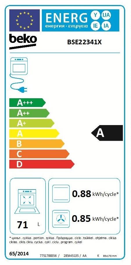Etiqueta de Eficiencia Energética - BSE22341X