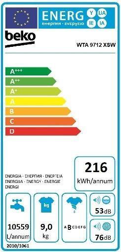 Etiqueta de Eficiencia Energética - WTA9712XSW