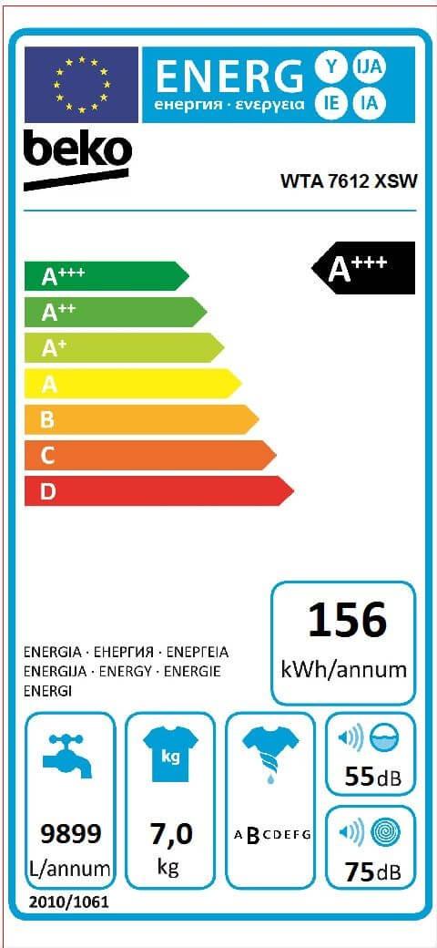Etiqueta de Eficiencia Energética - WTA7612XSW