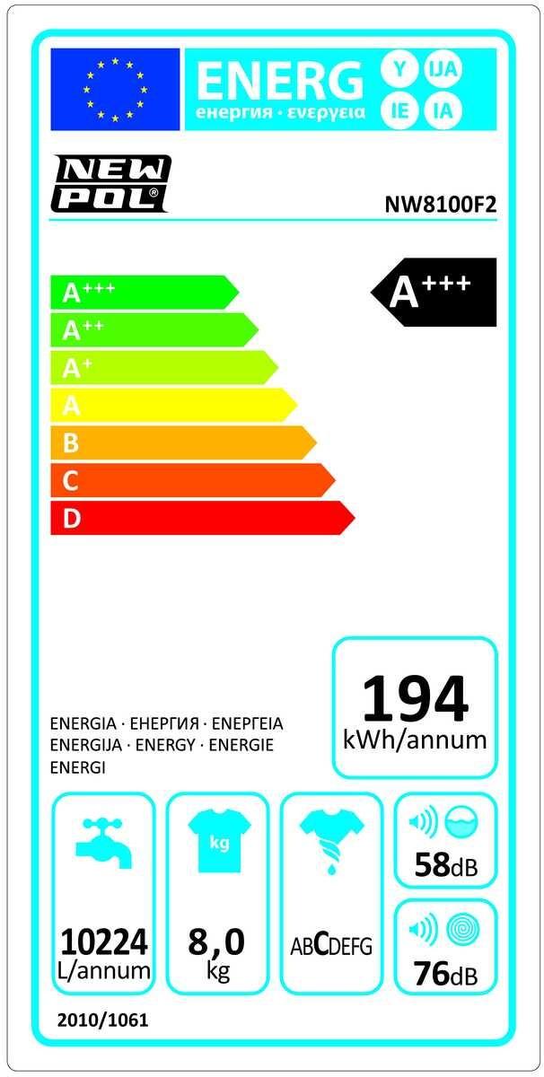 Etiqueta de Eficiencia Energética - NW8100F2INOX